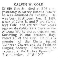 Cole, Calvin W. 1959