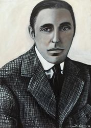 """D. W. Griffith"", ""United Artists"", ""Inventor of Hollywood"", ""Director"", ""Writer"", ""Producer"", ""Intolerance "", ""The Birth of a Nation"",acrylic on canvas, by Fin Collins, part of The Film Icons Collection www.filmiconsgallery.com"
