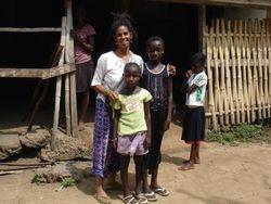 Harriet and her girls in Akwamufie