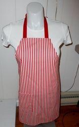 Red/white stripe apron on Etsy