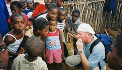 Playing for children in Tsumeb, Namibia, 2004.