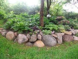 Boulder planter wall
