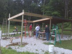 Poles are set and tacked in place.
