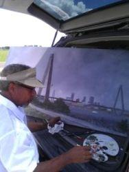 Dexter paints on location
