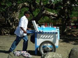 """Snow-cone"" vendor on the beach"