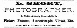 Lorenzo Short, photographer, of Rondout and Kingston, New York