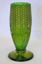 Corn vase, plain base, green