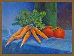 1st Place, Susan Pizzi (Carrots on Blue)