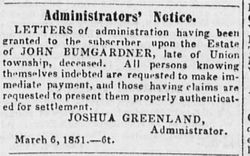 Administrator's Notice for the Estate of John Bumgarder