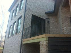 Wood deck side hand rails after