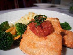 Salmon with Tomato Marmalade