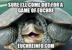 Sure I'll come out for a game of Euchre.
