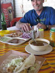 Roger enjoying fish tacos