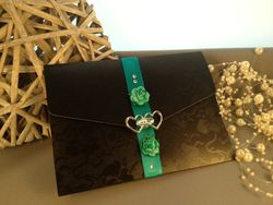 Black Broderie Wallet with Rose and hearts