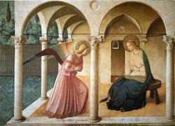 Fra Angelico, Annunciation, 1440-43, hallway, monk's dormitory, San Marco Monastery, Florence