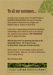 Poster for The Treehouse restaurant, Norwich