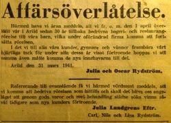 Julia Lundgrens konditori 1941