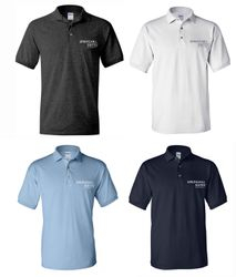 Polo Shirts.  Dark Heather, White, Light Blue or Navy Blue - Silk-Screen Logo - DryBlend Fabric 50/50 - 3-Button Placket - Knitted Collar/Cuffs