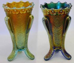 Daisy and Drape vases in aqua butterscotch and blue