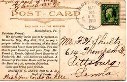 Back of the GAR Postcard