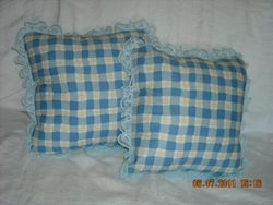 Blue checked set of 2 - SOLD