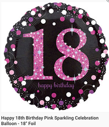 18th pink foil 18inch