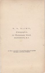 S. B. Brown, photographer of Providence, RI - back