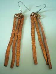 "3"" Hammered Bronze earrings"