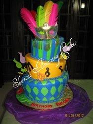 CAKE 40A2 -Topsy Turvy Mardi Gras Cake