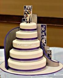 Purple, Blue and white damask wedding cake