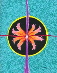 Burst Of Energy At The Intersection Of The Physical And Spiritual Mandala, Oil Pastel, 11x14, Original Sold