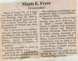 Fryer, Manis E. Reed 1999