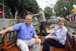 Lynda and Randy on Chinese Gondola Ride in Tongli