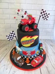 Truck and Cars birthday cake