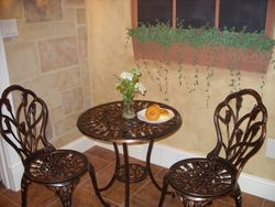"faux stone and stucco ""buildings"" in bistro"