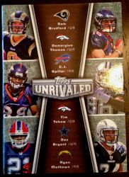 2010 Topps Unrivaled 6 Rookie Card Auto Tim Tebow,Sam Bradford, Dez Bryant,Mathews,Spiller,Thomas 8/10