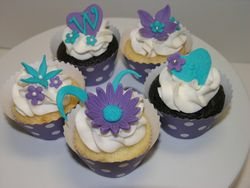 Teal/Purple Cupcakes