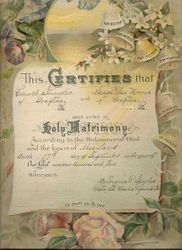 Marriage Certificate for Lemuel Shingler and Mary Ellen Norris