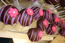cake pops with royal icing flowers $2.50  each