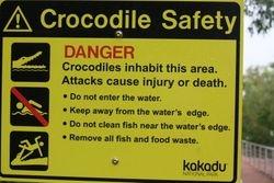 Sign at Kakadu National Park near Darwin