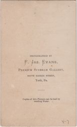 F. Jas. Evans of York, PA - back