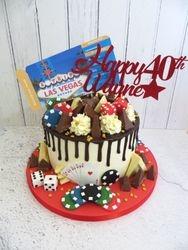 Wayne's 40th Birthday Las Vegas Drip Cake