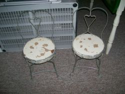 antique vintage child's ice cream chairs