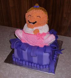 Little Girl on Present Cake