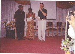 Pastor  Gregg T. Johnson  Awarding Rev. Stephen Wengam A Certificate