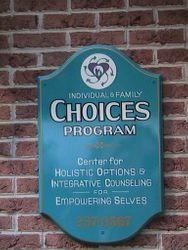 The CHOICES sign at the entrance door