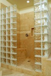 Glass Block Travertine Shower