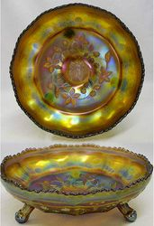 Butterfly and Berry float or center piece bowl in amethyst