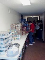 Volunteers packing totes