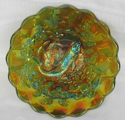 Big Fish deep round flared bowl, green